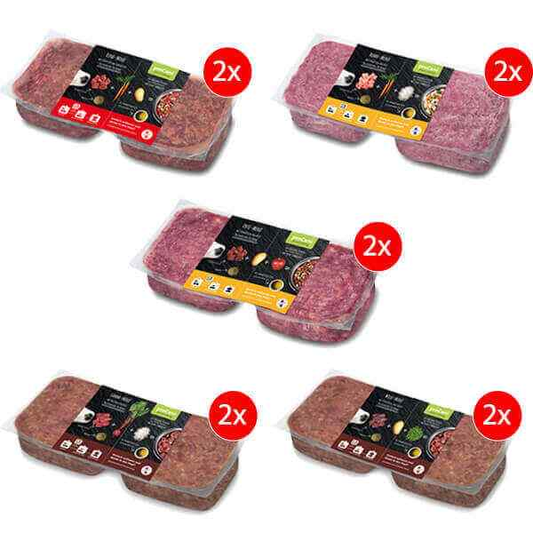 proCani BARF Komplettmenue Hundefutter Probepaket Maxi - Menue Test- und Vorratspaket mit 5 verschiedenen Fleischsorten