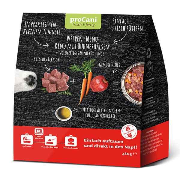 proCani Welpen Komplettmenü Nuggets mit Rind und Hühnerhälsen