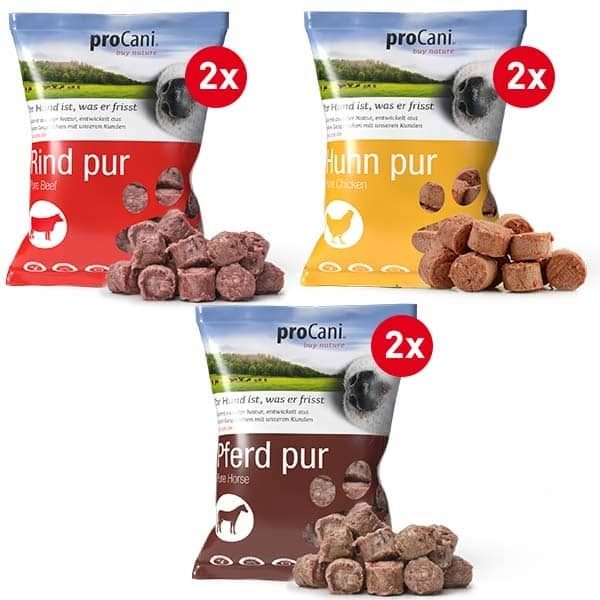 proCani buy nature pure Frostfleisch Nuggets - 3 Sorten Sparpaket mit 6x800g