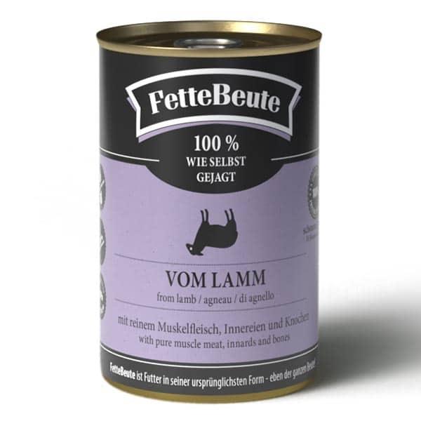 FetteBeute BARF Nassfutter mit mildem Lammfleisch für Hunde - 400g Dose