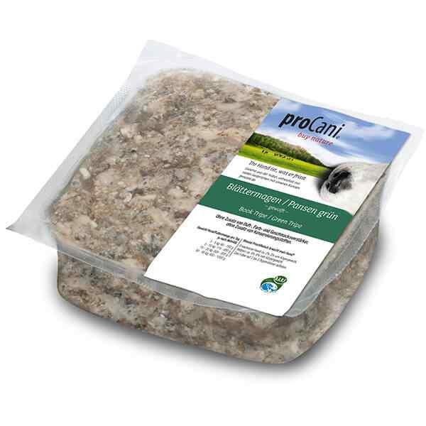 proCani buy nature BARF Frostfleisch fuer Hunde - Blaettermagen Pansen gruen vom Rind Frischfutter