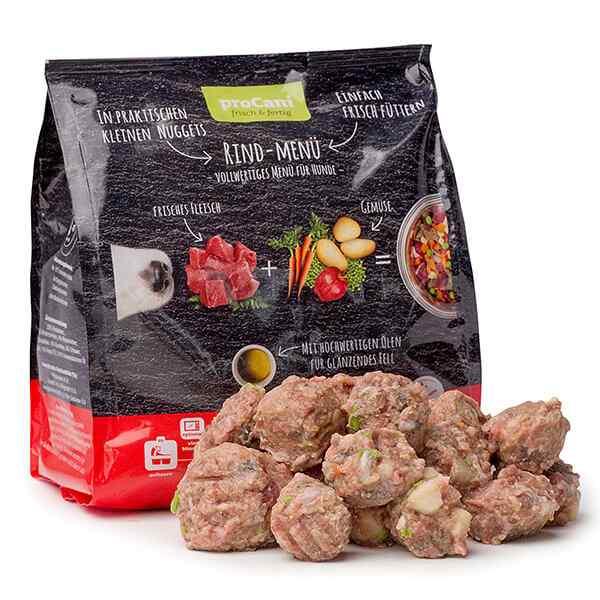 proCani BARF Komplettmenue Nuggets fuer Hunde - Rind Frischfleisch Menue mit Gemuese
