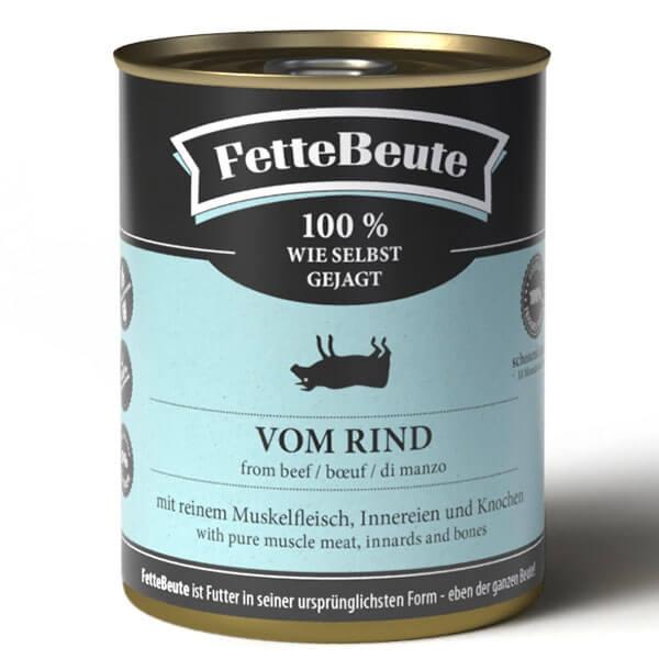 FetteBeute Nassfutter BARF Frischfleisch für Hunde mit Rindfleisch