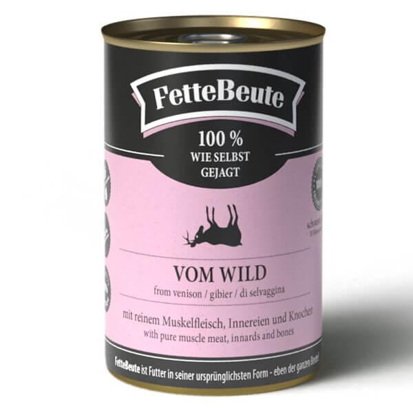 FetteBeute BARF Nassfutter mit saftigem Wildfleisch für Hunde - 400g Dose