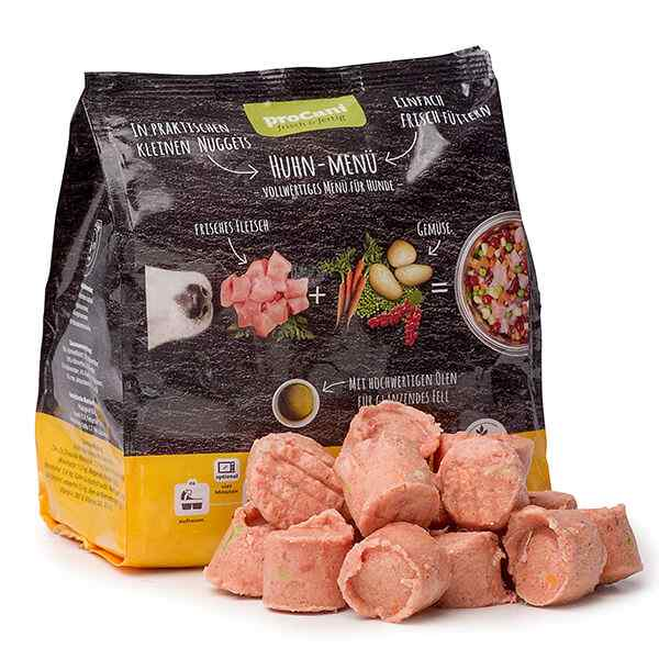 proCani BARF Komplettmenue Nuggets fuer Hunde - Huhn Frischfleisch Menue mit Gemuese