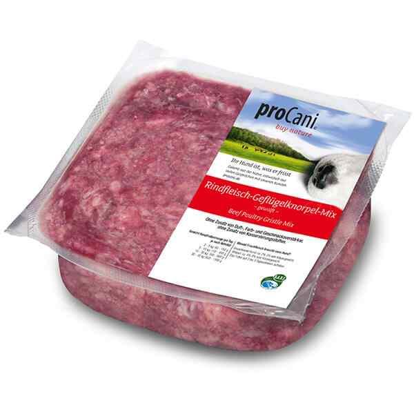 proCani buy nature BARF Frostfleisch fuer Hunde - Rind-Gefluegel-Knorpel-Mix Frischfutter