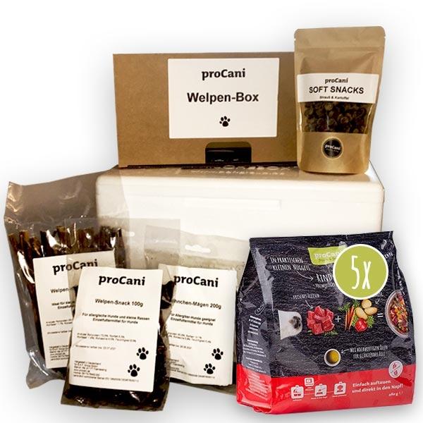 proCani Welpen-Box mit saftigem Tiefkühlfutter, Leckerlis und Snacks