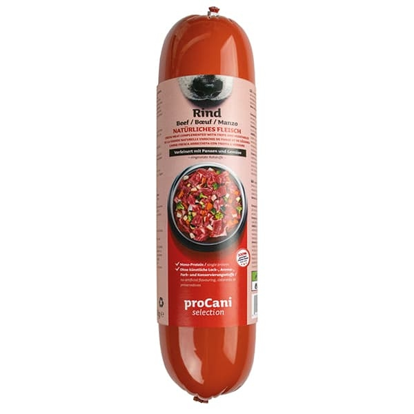 proCani selection Kochwürste für Hunde - Rind Menü 10x800g