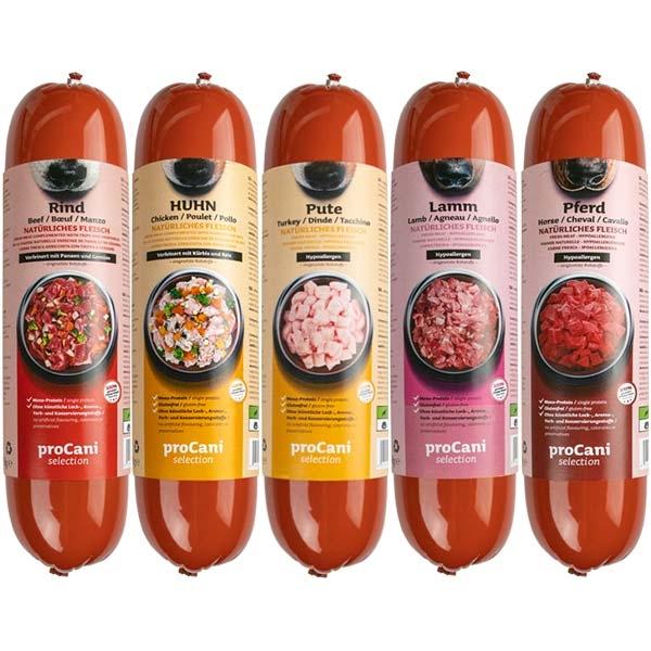 proCani selection Kochwürste für Hunde - 10x800g Sparpaket